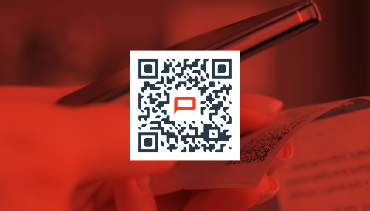 Peabody Communications on board with marketing trend by using branded QR code on top of a colorized background.